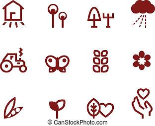 marrón, conjunto, y, ), (, iconos, aislado, blanco, agricultura, agricultura