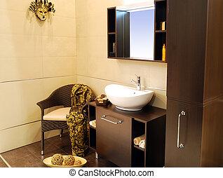 marrón, cuarto de baño