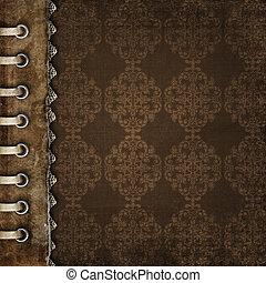 marrón, cubierta, para, un, álbum, con, fotos