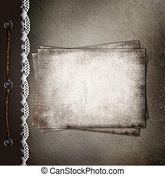 marrón, cubierta, para, un, álbum