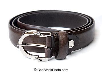 marrón, cuero, aislado, oscuridad, blanco, cinturón