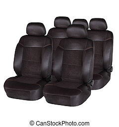 marrón, cuero, coche, aislado, asientos, blanco