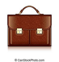 marrón, cuero, maletín, vector, ilustración