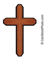 marrón, de madera, aislado, cruz