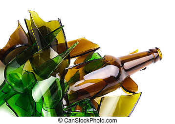 marrón, desperdicio, verde, botella, glass.recycled.shattered