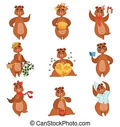 marrón, diferente, conjunto, girly, actividades, carácter, oso, pegatinas