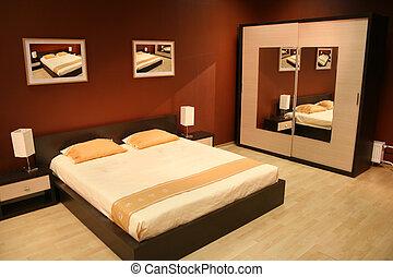 marrón, dormitorio