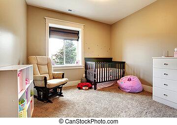 marrón, enfermería, madera, crib., nena, habitación