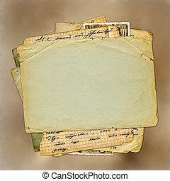 marrón, estilo, antiguo, scrapbooking, resumen, plano de...