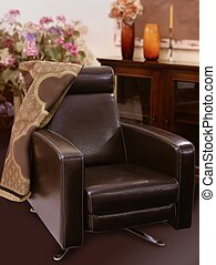 marrón, estilo, clásico, sofá de cuero, sillón
