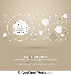 marrón, estilo, hamburguesa, infographic., moderno, ...