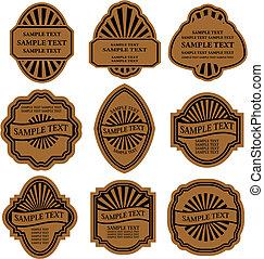 marrón, etiquetas, conjunto, vendimia