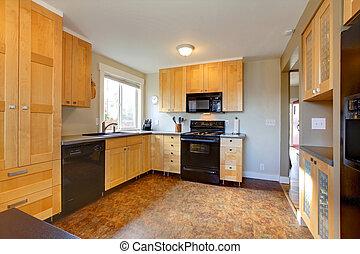 marrón, gabinetes, moderno, paredes, arce, cocina