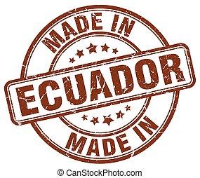 marrón, hecho, grunge, estampilla, redondo, ecuador