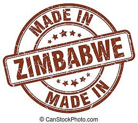 marrón, hecho, grunge, estampilla, zimbabwe, redondo