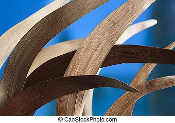 marrón, hojas, en, azul