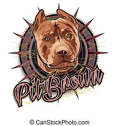 marrón, hoyo, arte, perro
