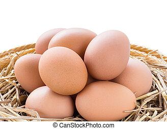 marrón, huevos de pollo, en, cesta