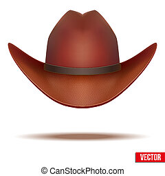 marrón, illustration., vaquero, aislado, fondo., vector, hat., blanco