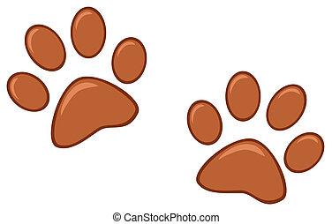 marrón, impresiones, pata
