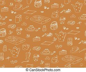 marrón, ingredientes, bocados, garabato, papel pintado, -, aislado, seamless, hand-drawn, vector, plano de fondo, desayuno