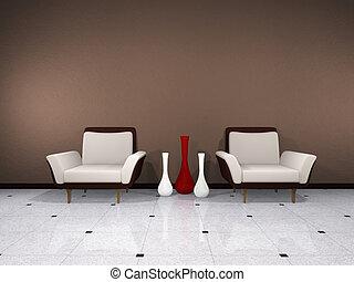 marrón, interior