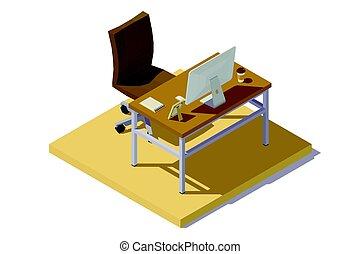 marrón, isométrico, lugar de trabajo, oficina, beige