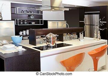 marrón, madera, cocina, moderno, acero inoxidable