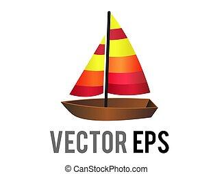 marrón, mezcla, vector, naranja, navegación, lado, barco, de madera, rojo, velas, icono, amarillo