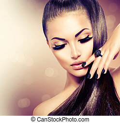 marrón, Moda, belleza, sano, largo, pelo, modelo, niña
