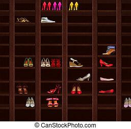 marrón, moda, estantes, shoes., mujeres, madera, calzado,...