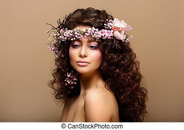 marrón, moda, romántico, belleza, maiden., -, joven, frizzle...