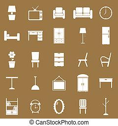 marrón, muebles, plano de fondo, iconos