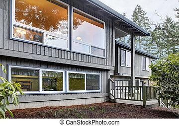 marrón, nivel, casa, gris, dividir, frente, exterior.
