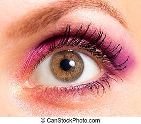 marrón, ojo, con, rosado brillante, y, violeta, maquillaje