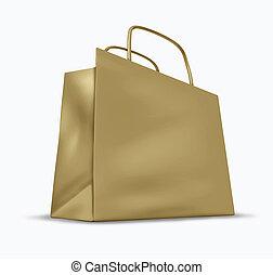 marrón, papel, compras, bolsa