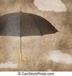 marrón, paraguas, diversión, plano de fondo, grungy, nubes