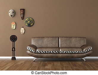 marrón, pared, con, tribal, máscaras, y, sofá