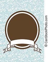 marrón, pastel, marco, vector, plano de fondo, oval