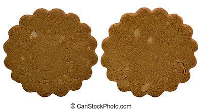 marrón, pasteles, -, dos, aislado, navidad