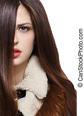 marrón, pelos, mujer, largo