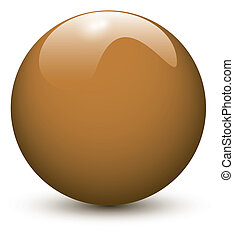 marrón, pelota, brillante
