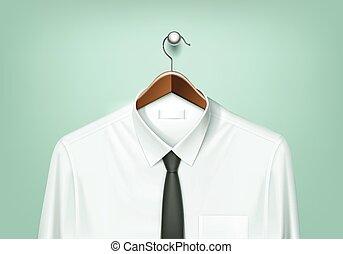marrón, percha, camisa, chamarra, corbata negra, blanco