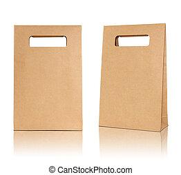 marrón, piso, reflejar, bolsa, papel, plano de fondo, blanco