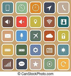 marrón, plano, móvil, iconos, teléfono, plano de fondo