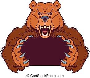 marrón, plantilla, garras, oso, vector, tenencia, mascota