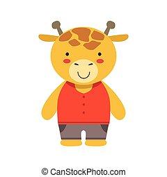 marrón, poco, juguete, lindo, vestido, cima, niño, jirafa, animal, bebé, sonriente, pantalones rojos