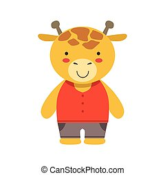 marrón, poco, juguete, lindo, vestido, cima, niño, jirafa, ...