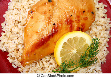 marrón, pollo, arroz, limonada