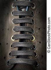 marrón, primer plano, cordones, botas